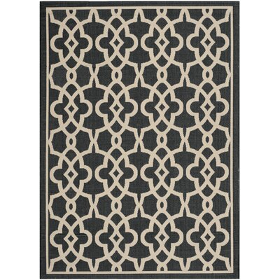 Mcguffin Black/Beige Indoor/Outdoor Area Rug Rug Size: 53 x 77