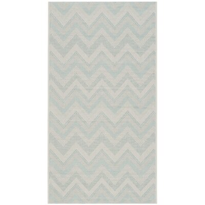 Mcguffin Light Gray/Aqua Indoor/Outdoor Area Rug Rug Size: 53 x 77