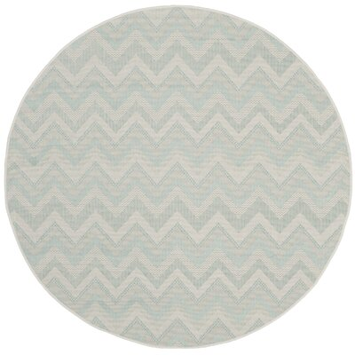 Mcguffin Light Gray/Aqua Indoor/Outdoor Area Rug Rug Size: Round 53