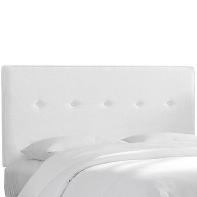 Monteiro Twill Upholstered Panel Headboard Size: Queen, Upholstery: White