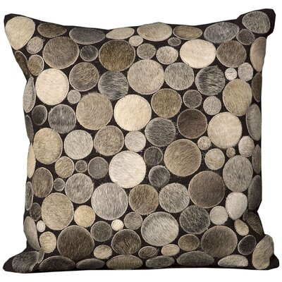 Natural Leather Hide Throw Pillow Color: Silver