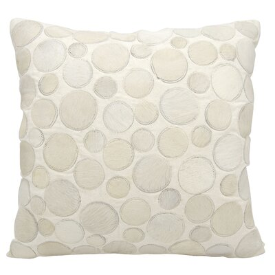 Natural Leather Hide Throw Pillow Color: White