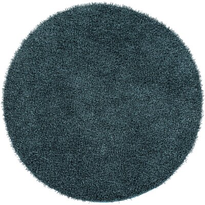 Mchaney Hand-Tufted Teal/Black Area Rug Rug Size: Round 8