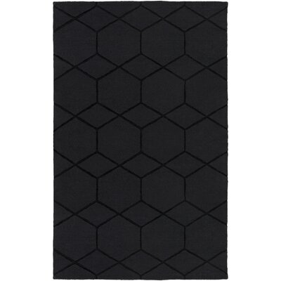 Mcnulty Hand-Loomed Black Area Rug Rug Size: Rectangle 5 x 8
