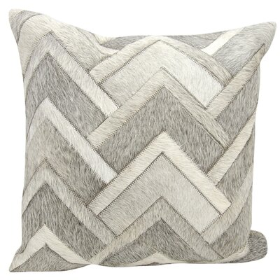 Alonzo Natural Leather Hide Throw Pillow Color: Gray