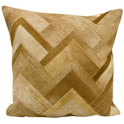 Alonzo Natural Leather Hide Throw Pillow Color: Amber