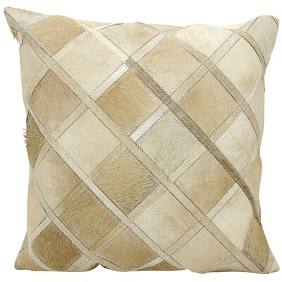 Natural Leather Hide Throw Pillow Color: Beige