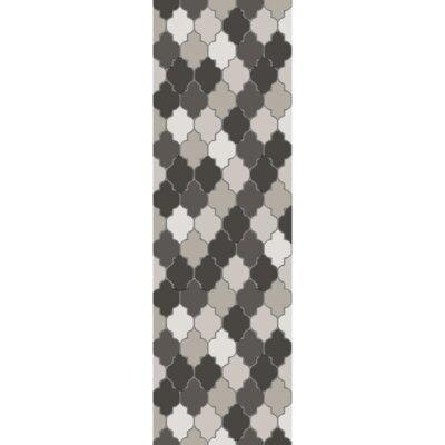 Elektra Hand-Tufted Light Gray/Moss Area Rug Rug Size: Runner 26 x 8