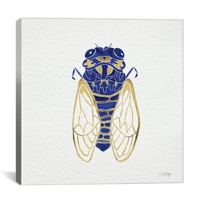Cicada Artprint by Cat Coquillette Painting Print on Wrapped Canvas in Gold and Navy Size: 26