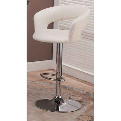 Evins Adjustable Height Swivel Bar Stool Upholstery: White