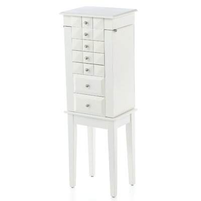 Bothwell Jewelry Armoire with Mirror Finish: White