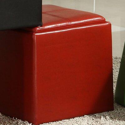 Derek 4723 Series Cube Ottoman Upholstery: Red