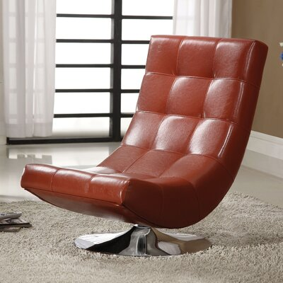 Marko Swivel Lounge Chair Color: Mahogany Red
