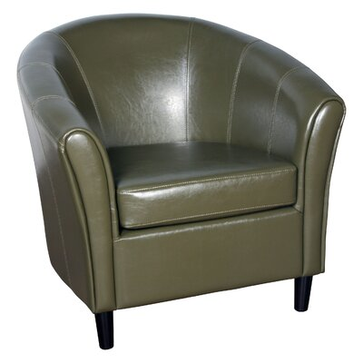 Karp Barrel Bonded Leather Barrel Chair Color: Avocado