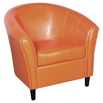 Karp Barrel Bonded Leather Barrel Chair Color: Orange