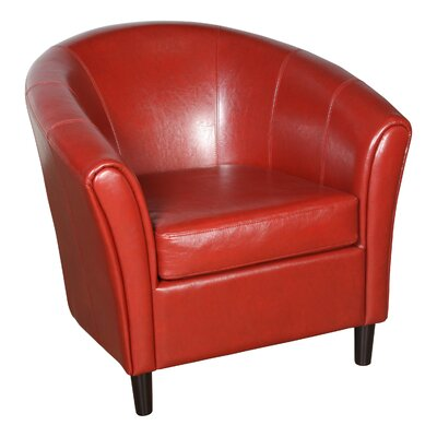 Karp Barrel Bonded Leather Barrel Chair Color: Red