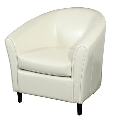 Karp Barrel Bonded Leather Barrel Chair Color: Ivory
