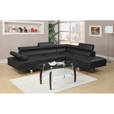 Armadale Right Hand Facing Sectional Upholstery: Black