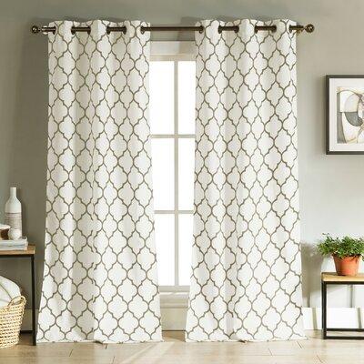 Brayden Studio Lonergan Geometric Semi-Sheer Grommet Curtain Panels