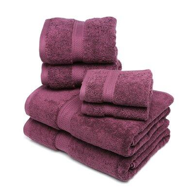Styliani 900 GSM 6 Piece Premium Long Staple Combed Cotton Towel Set Color: Plum