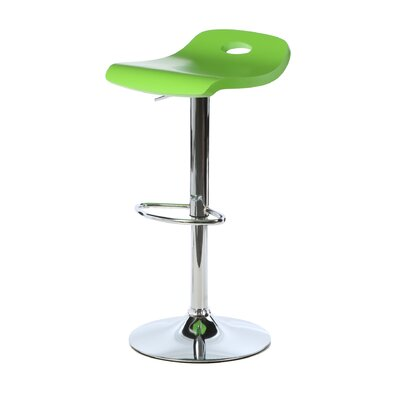 Barron Adjustable Height Swivel Bar Stool Upholstery: Green
