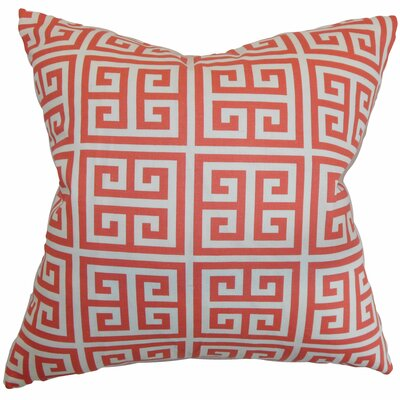 Blevins 100% Cotton Throw Pillow Color: Coral White, Size: 18 H x 18 W