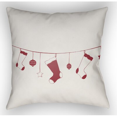 Marquez Indoor/Outdoor Throw Pillow Size: 18 H x 18 W x 4 D, Color: White / Red