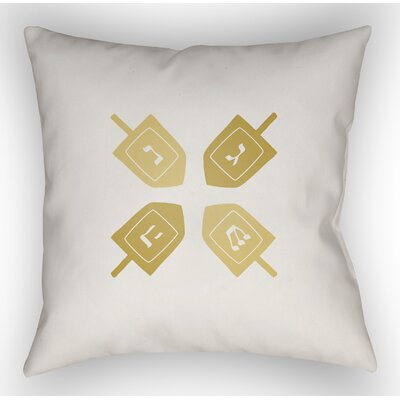 Contemporary Square Indoor/Outdoor Throw Pillow Size: 18 H x 18 W x 4 D, Color: White/Yellow
