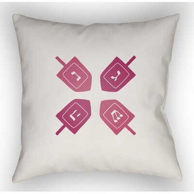 Contemporary Square Indoor/Outdoor Throw Pillow Size: 18 H x 18 W x 4 D, Color: White/Pink