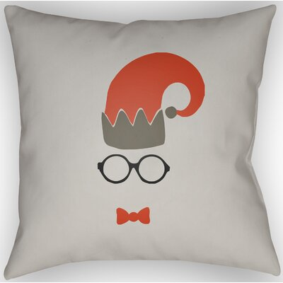 Marro Indoor/Outdoor Throw Pillow Size: 18 H x 18 W x 4 D, Color: Light Gray / Red