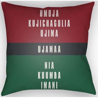 Indoor/Outdoor Throw Pillow Size: 20 H x 20 W x 4 D, Color: Red/White/Black/Green