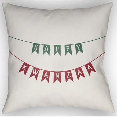 Marshburn Indoor/Outdoor Throw Pillow Size: 20 H x 20 W x 4 D, Color: White/Green/Red