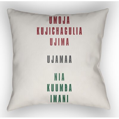 Marshburn Indoor/Outdoor Throw Pillow Size: 18 H x 18 W x 4 D, Color: White/Red/Black/Green