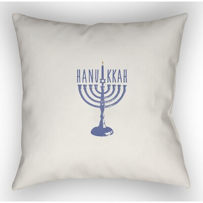 Hanukkah Indoor/Outdoor Throw Pillow Size: 18 H x 18 W x 4 D, Color: White/Blue
