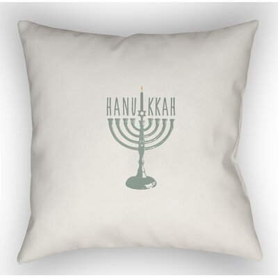 Hanukkah Indoor/Outdoor Throw Pillow Size: 18 H x 18 W x 4 D, Color: White/Green