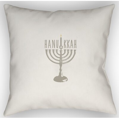 Hanukkah Indoor/Outdoor Throw Pillow Size: 18 H x 18 W x 4 D, Color: White/Beige