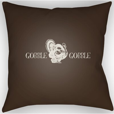 Gobble Square Indoor/Outdoor Throw Pillow Size: 18 H x 18 W x 4 D, Color: Brown/White