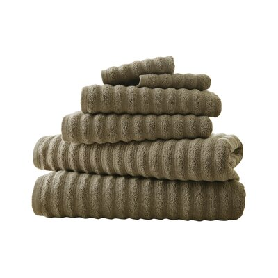 Luxury Quick Dry Cotton 6 Piece Stripe Cotton Towel Set Color: Taupe