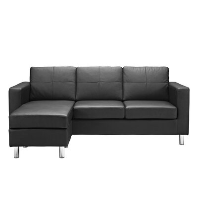 Lutz Reversible Chaise Sectional Color: Black