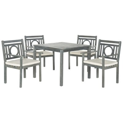 Graves 5 Piece Dining Set with Cushions Finish: Ash Grey