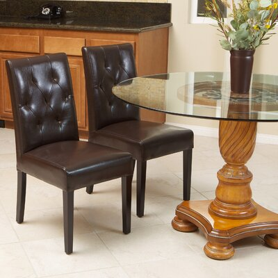 Allegany Bonded Leather Upholstered Dining Chair Upholstery: Java