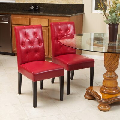 Allegany Bonded Leather Upholstered Dining Chair Upholstery: Red