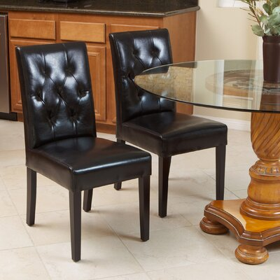 Cherry Bonded Leather Upholstered Dining Chair Upholstery: Black