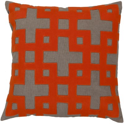 Bright Squares Cotton Throw Pillow Size: 18 H x 18 W x 4 D, Color: Stone / Poppy Red / Paprika / Brindle / Sienna, Filler: Polyester