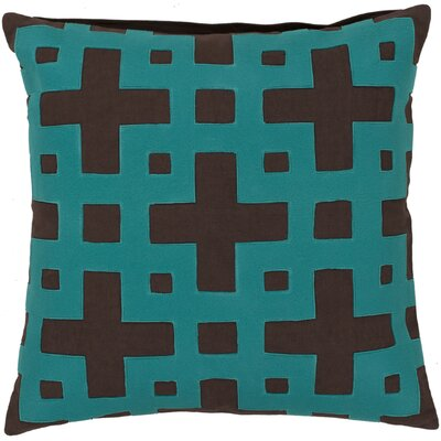 Bright Squares Cotton Throw Pillow Size: 18 H x 18 W x 4 D, Color: Coffee Bean / Dark Turquoise, Filler: Down