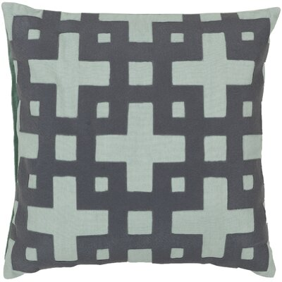 Bright Squares Cotton Throw Pillow Size: 22 H x 22 W x 4 D, Color: Slate Blue / Pale Aqua Green, Filler: Polyester