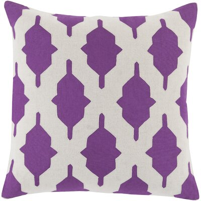 Metsahovi Cotton Throw Pillow Color: Violet, Size: 20 H x 20 W x 4 D, Filler: Down