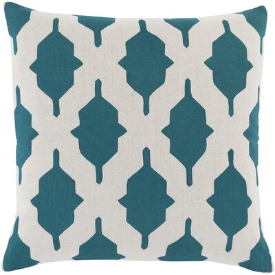 Metsahovi Cotton Throw Pillow Size: 18 H x 18 W x 4 D, Color: Teal, Filler: Down