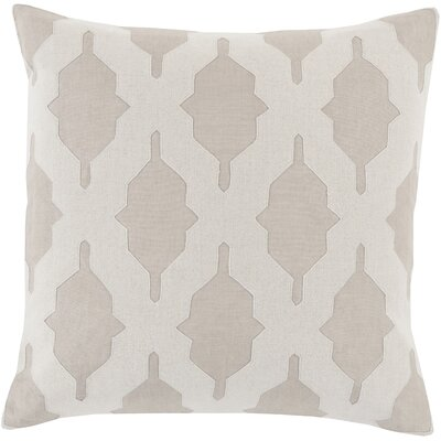 Meadors Throw Pillow Size: 22 H x 22 W x 4 D, Color: Light Gray, Filler: Down