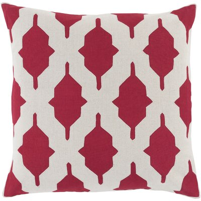 Metsahovi Cotton Throw Pillow Size: 20 H x 20 W x 4 D, Color: Cherry, Filler: Down